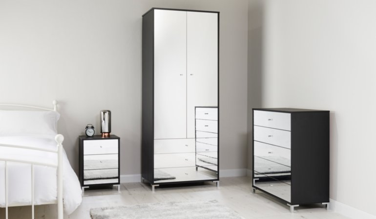Shona Bedroom Furniture Range - Black Oak Effect and Mirror Effect