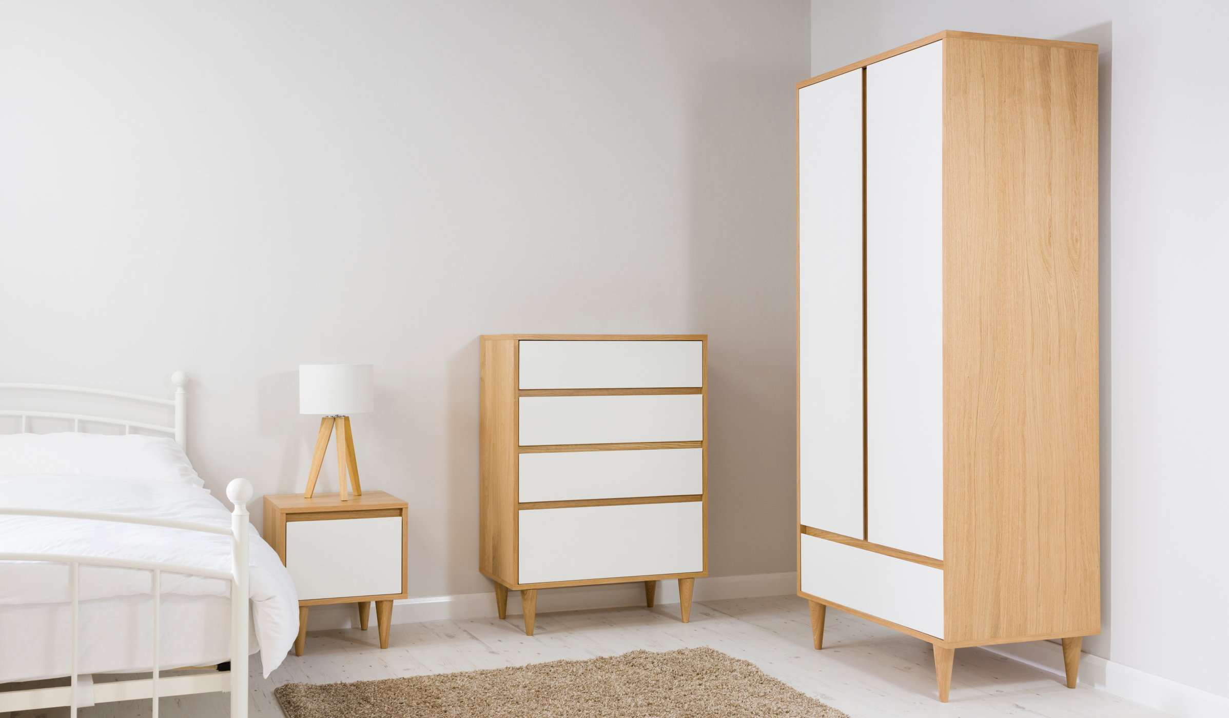 White Bedroom Furniture Uk george home wynne bedroom furniture range - oak effect and white