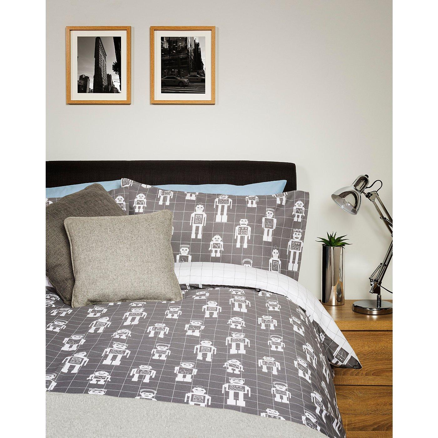Grey Robots Bedroom Range | Student Essentials | George at ASDA