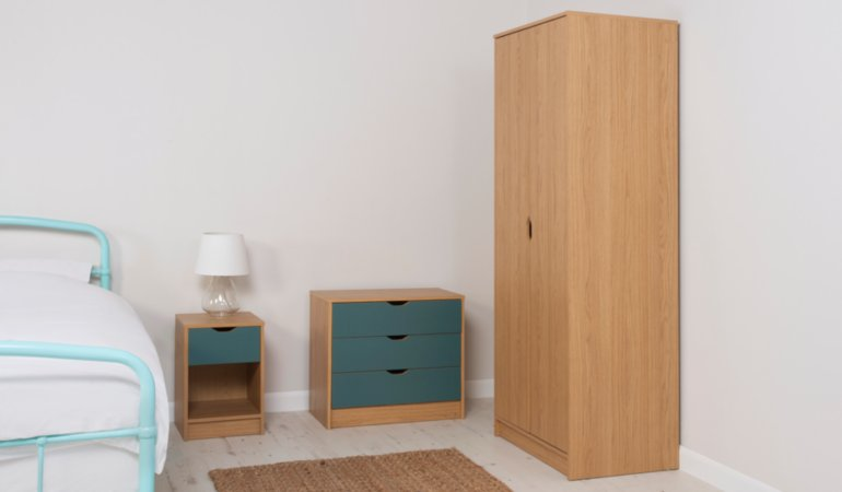 George Home Rupert Kids Furniture Range - Oak Effect and Blue