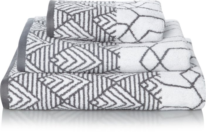 Grey Geometric 100% Cotton Towel Range