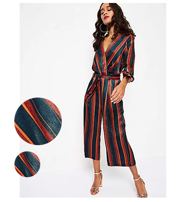 Navy with stripes, this jumpsuit has a deep-plunge V-neck front and chic self-tie waist