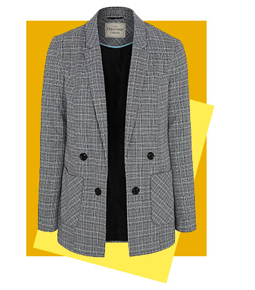 Office style meets weekend vibe with this tailored check blazer