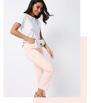 Stand out from the crowd in these light pink straight jeans
