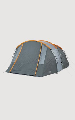 A grey tent with orange accents