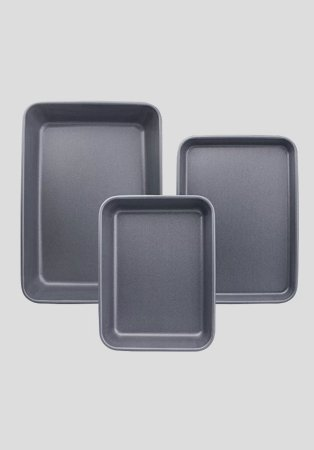 A 3 pack of non-stick Teflon baking trays