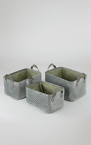 Set of three green diamond pattern velour storage baskets