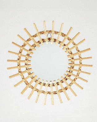 Bamboo circular mirror