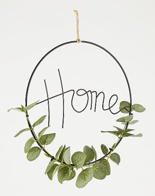 Black wire Home sign with artificial eucalyptus leaves