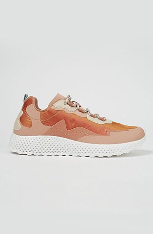 Pink iridescent panel sports trainers