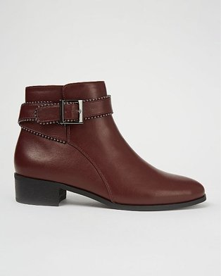 Burgundy studded buckle strap ankle boots