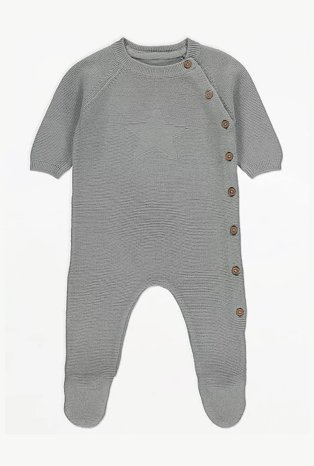 Grey knitted bodysuit with wooden buttons.