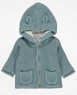 Green bunny ears knitted jacket with wooden buttons and pockets.