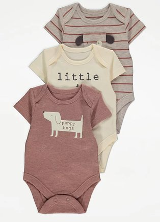 Brown striped bodysuit, cream slogan bodysuit and pink dog print bodysuit.