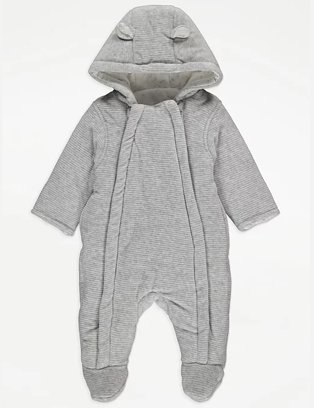 Grey ribbed padded pramsuit.