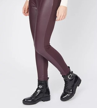 Burgundy panel faux leather leggings with shiny buckle ankle boots.