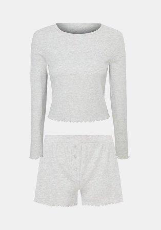 Matching grey sports top and shorts set
