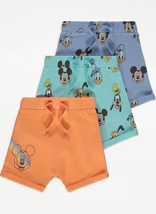 Disney Mickey Mouse jersey shorts 3 pack.