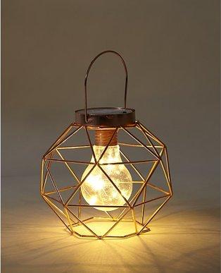 Copper-Effect Geometric Wire Lantern