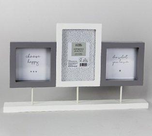 White and Grey Multi Aperture Stand Photo Frame