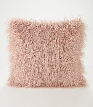 Pink Mongolian Faux Fur Cushion
