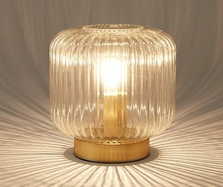 Lit gold and glass table lamp