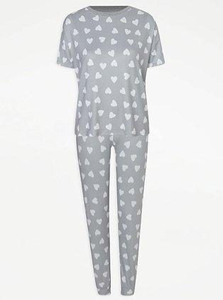 Grey Heart Print Short Sleeve Pyjamas