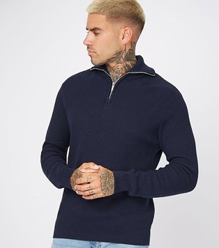 Mean wearing a navy jumper with a zip neck detail