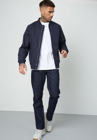 Man wearing navy wash straight fit jeans with a white t-shirt and navy jacket