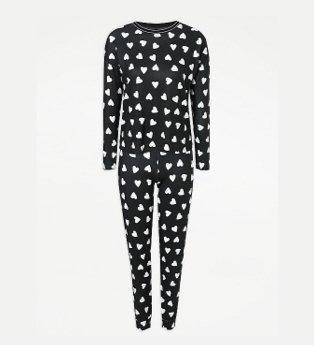 Black Snit Heart Print Long Sleeve Pyjamas.