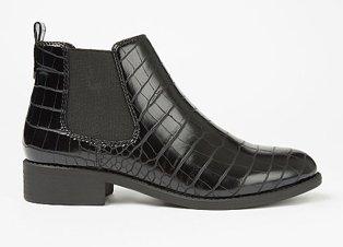 Black Mock Croc Chelsea Boots