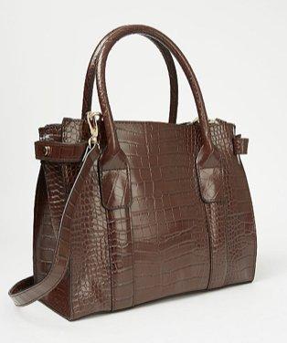 Chocolate Brown Patent Mock Croc Mini Tote Bag