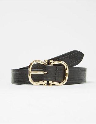 Black gold buckle detail belt.