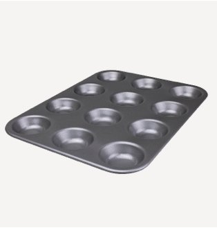 Grey non-stick baking tray.