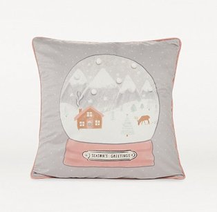 Grey snow globe Christmas cushion.