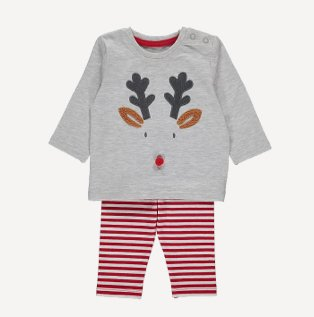 Grey reindeer pom pom detail Christmas pyjamas.