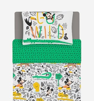 Green Disney Mickey Mouse Zoo Reversible Single Duvet Set.