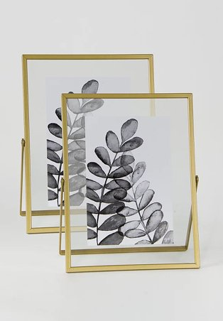 Gold Metal Photo Frames 6x4inch 2 Pack.