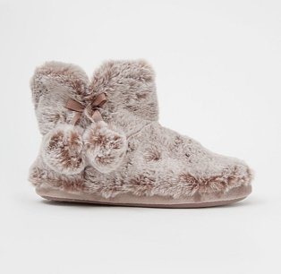 Chocolate Brown Tipped Faux Fur Slipper Boots.