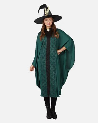 Woman poses wearing Adult Harry Potter Professor McGonagall Fancy Dress Costume.