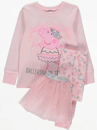 Girls Peppa Pig Pink Tutu Pyjamas.