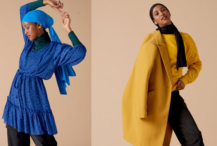 Woman poses with hands in the air wearing green high neck top and cobalt blue printed dress with blue headscarf, woman poses wearing mustard sweater, mustard coat, black trousers, black scarf and black headscarf.