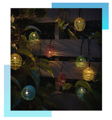Create a cosy camping atmosphere with some outdoor string lights