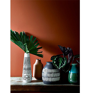 Decorative plant pots and vases on a table