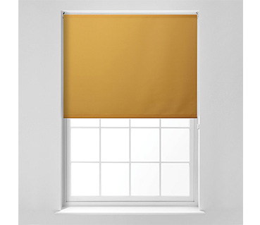 Image of window with a yellow blind