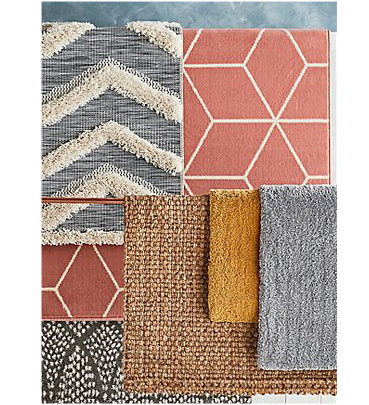 A selection of textured and printed rugs