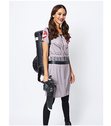 Woman in George Halloween Ghostbusters costume