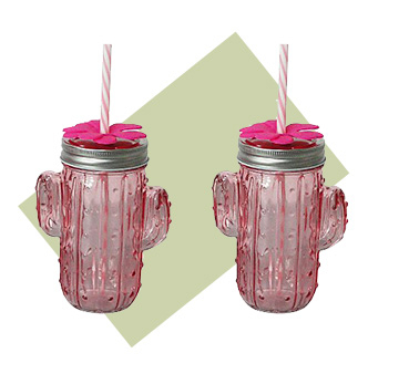 Enjoy your favourite refreshment on the go with these two quirky cactus-shaped mason jars