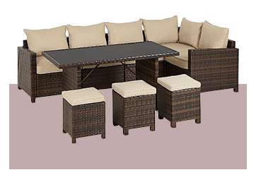 Make outdoor dining a stylish affair with this Jakarta corner group dine set