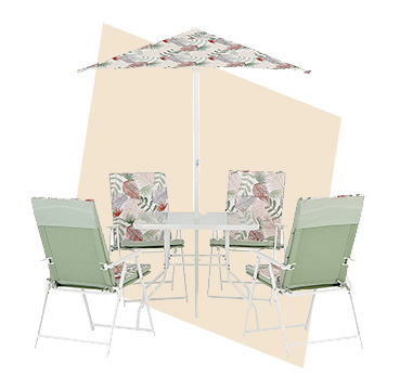 This Miami 6 piece garden patio set with a sunbaked design will look the part in any contemporary garden